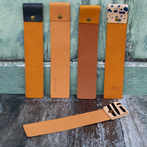 Hand painted Black and Tan Leather Bookmark - Wild Origin