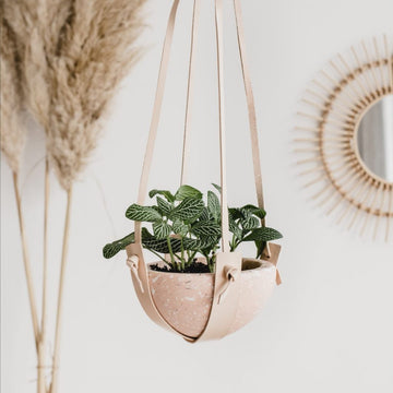 Leather Hanging Plant Holder ( For wider, shallower styled pots, HANGER ONLY)