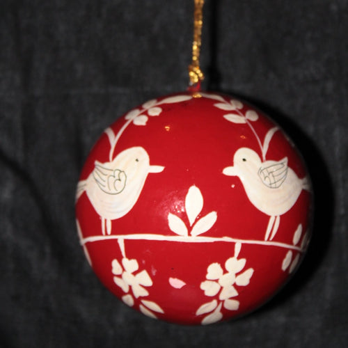 Paper Mache Chritsmas Hanging Ball - Kashmir