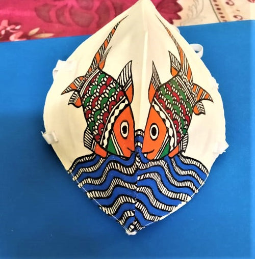 Madhubani hand painted mask- (Pack of 4) - @ShopChaupal