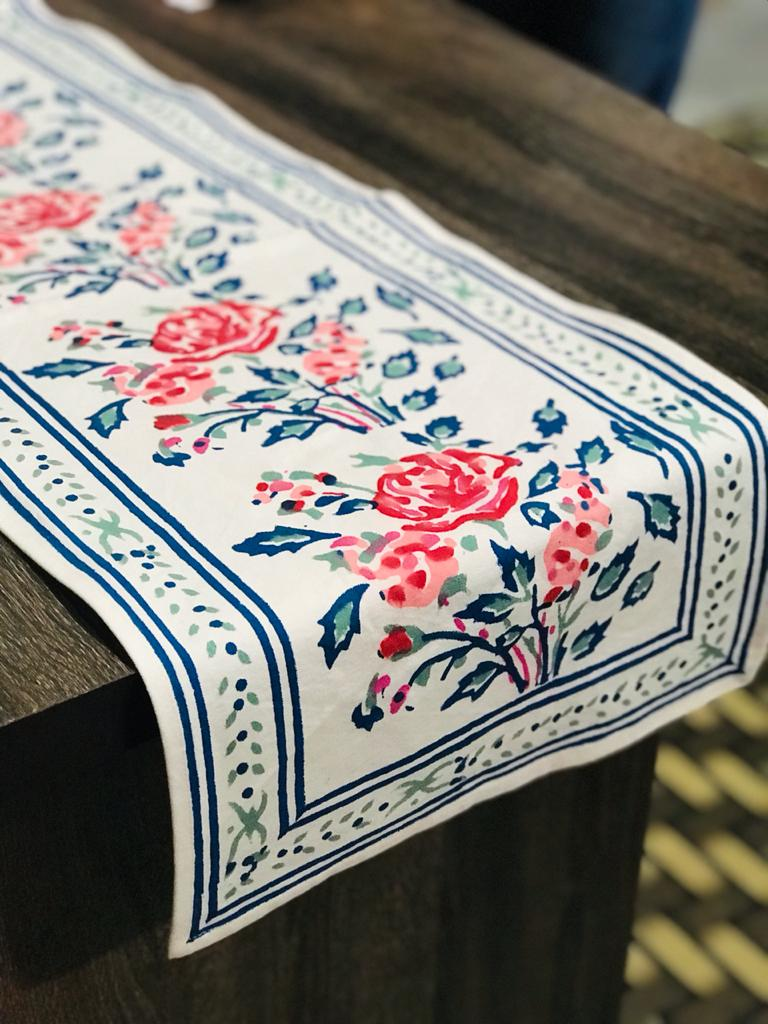 Hand Block Printed Table Runner (white, blue & red)- Bagru- Rajasthan