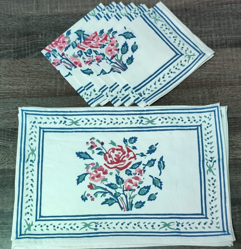 Hand Block Printed Table Mats with Napkins (Set of 6)- Bagru- Rajasthan