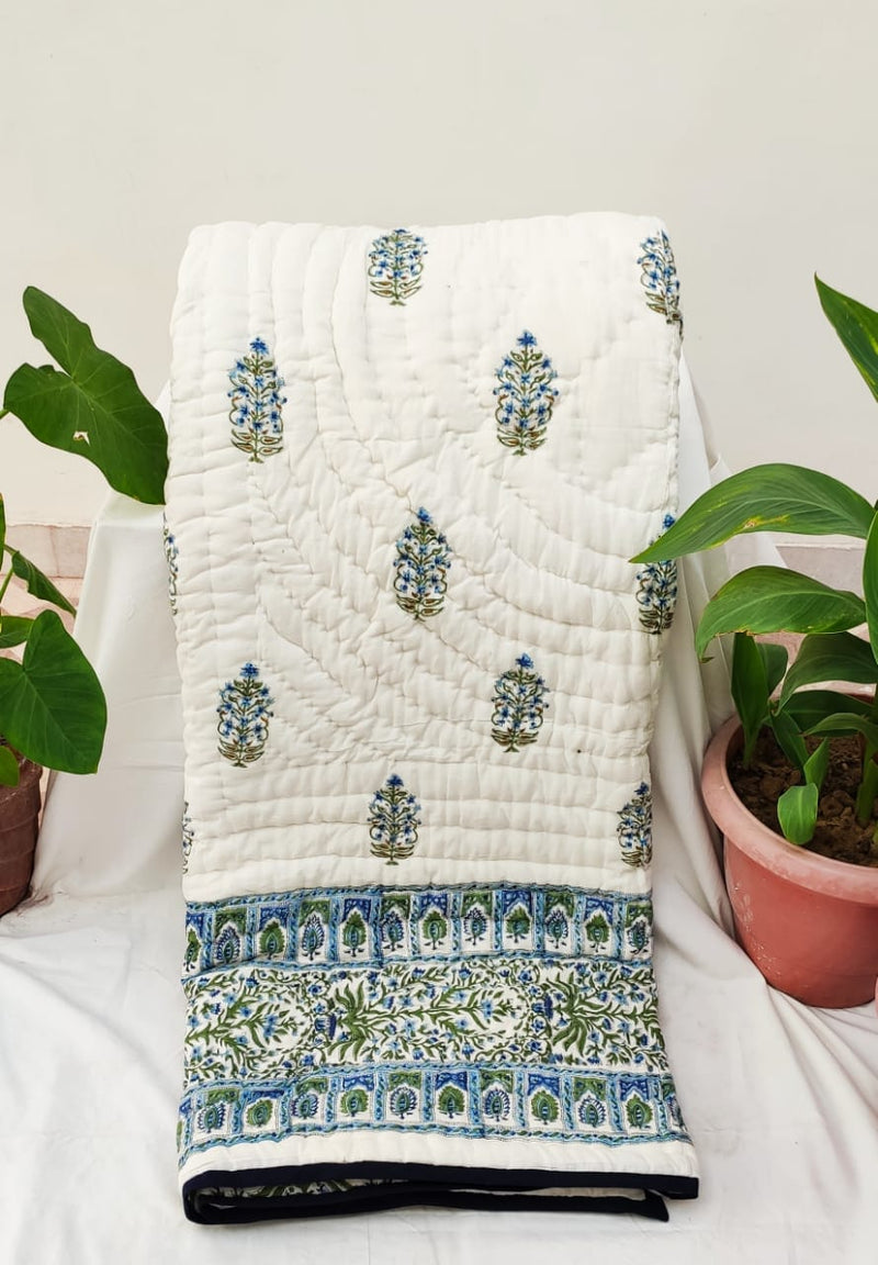 Hand Block Printed King Size Pure Cotton Hand-Stiched Jaipuri Traditional Rajai - Bagru- Rajasthan