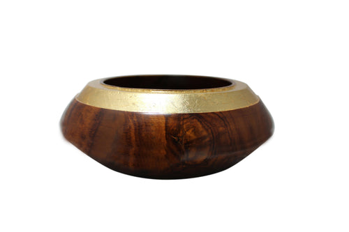 Handcrafted 'Rosewood Gold Bowl'-Rajasthan - @ShopChaupal