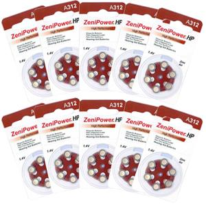 Zenipower Hearing Aid Batteries Size 312 Pack of 60