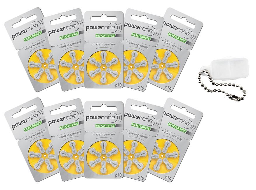 Power One Hearing Aid Batteries Size 10 Pack of 120 & Battery Caddy