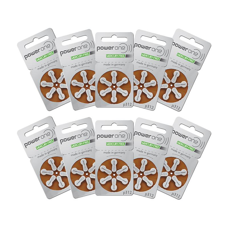 Power One Hearing Aid Batteries Size 312 Pack of 60