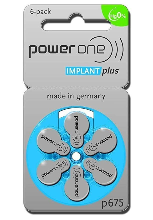 Power One Hearing Aid Batteries Size 675 Implant Plus Pack of 6