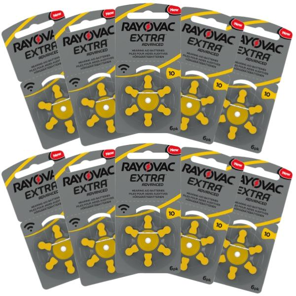 Rayovac Hearing Aid Batteries Size 10 Pack of 60
