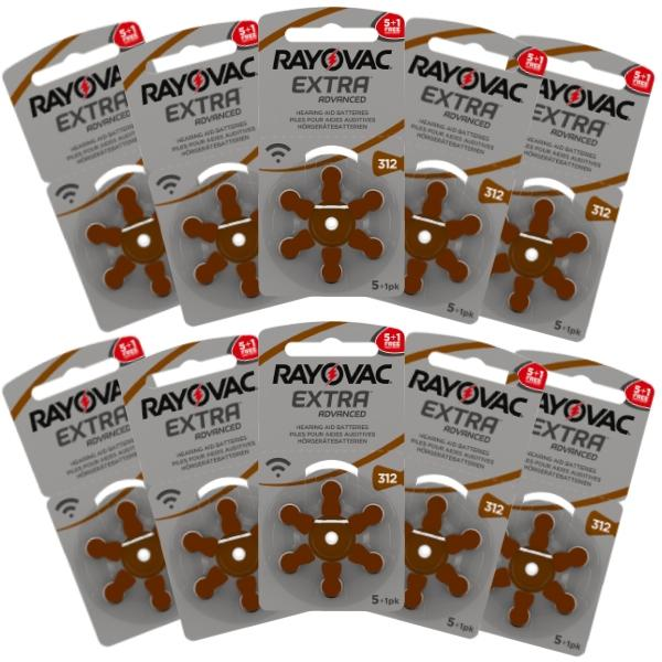 Rayovac Hearing Aid Batteries Size 312 Pack of 60