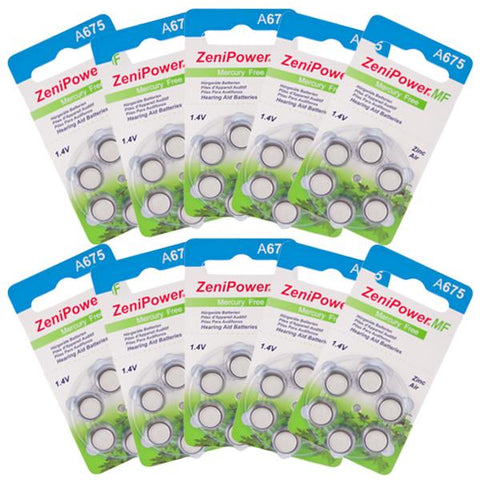 Zenipower Hearing Aid Batteries Size 675 Pack of 60