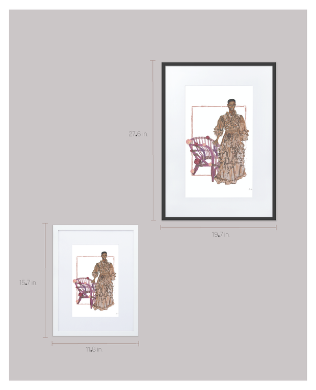 Shanelle Nyasiase Valentino Prairie Dress Painted Version Framed Print with Matting 1