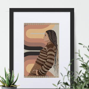 Storm Reid 70's Style Framed Print with Matting