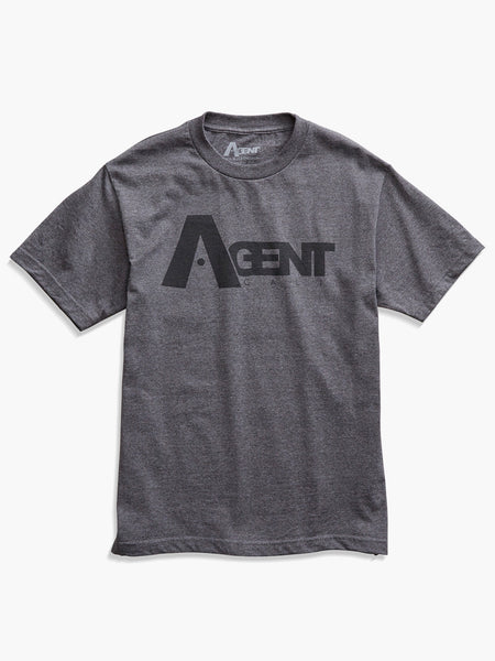 AgentCali Logo Tee Charcoal with Black Logo Front View