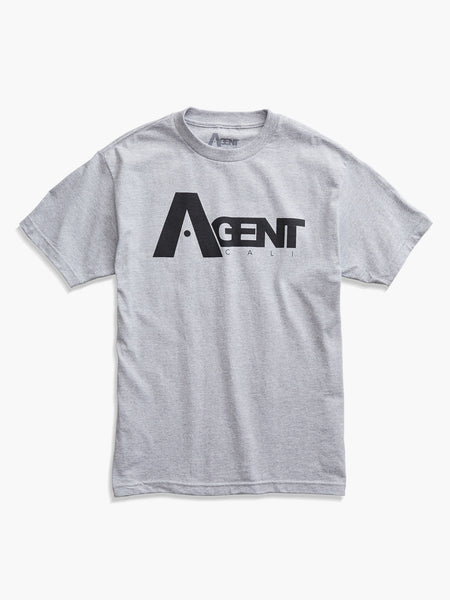 AgentCali Logo Tee Heather Gray with Black Logo Front View