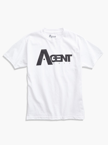 AgentCali Logo Tee White with Black Logo Front View