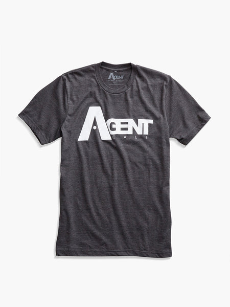 Men's AgentCali Charcoal Gray with White Logo T-Shirt Front View