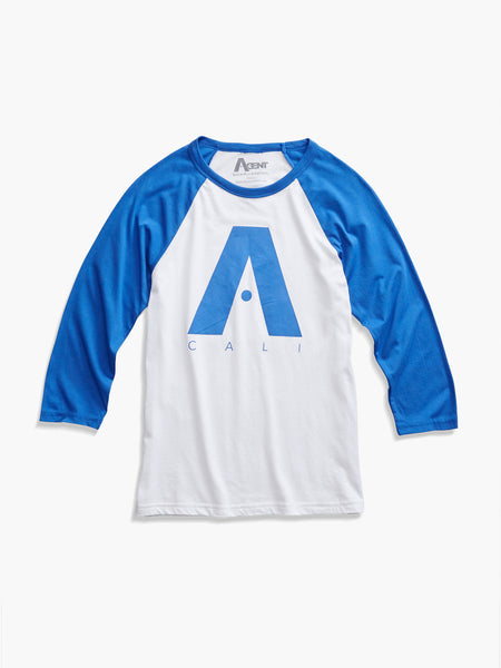 Raglan Baseball T-Shirt with 3/4 Sleeve White and Royal Blue With A Cali Logo