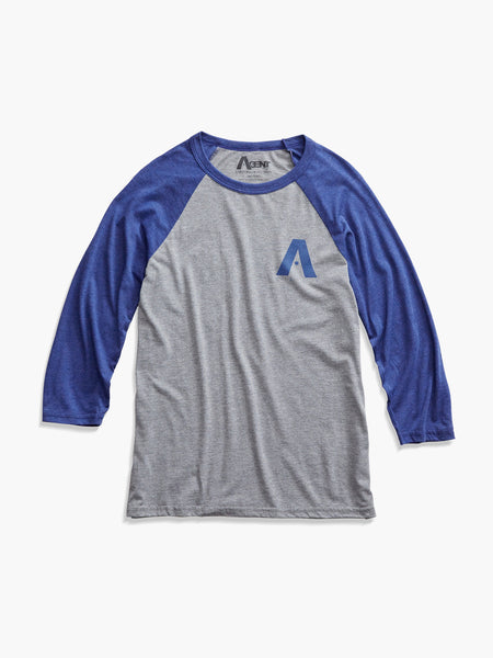 Raglan Baseball T-Shirt with 3/4 Sleeve Heather Gray and Navy With A Cali Logo