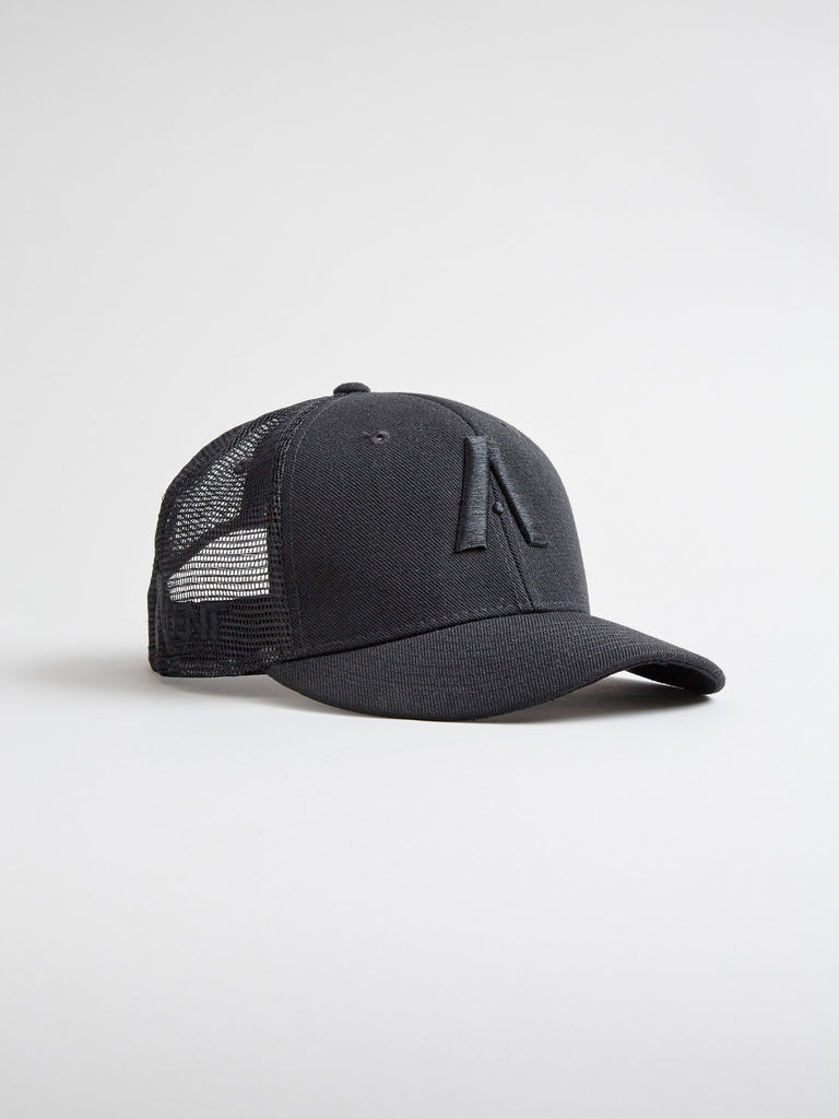 AgentCali Classic A Logo Trucker Hat in Black with Black Logo and Curved Brim Side View