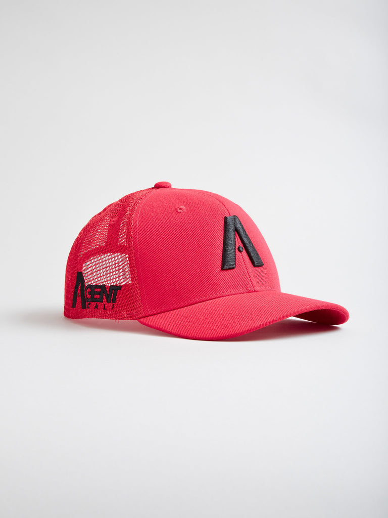 AgentCali Classic A Logo Trucker Hat in Red with Black Logo and Curved Brim Side View