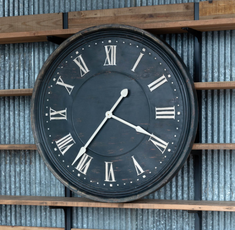 Aged Metal Bank Clock