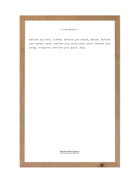 "Ernest Hemingway ""Wisdom"" Quote - Real Wood Rustic Frame"