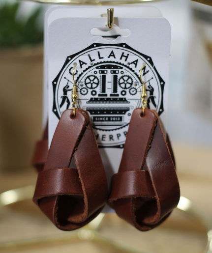 Leather Knot Earrings - Rust