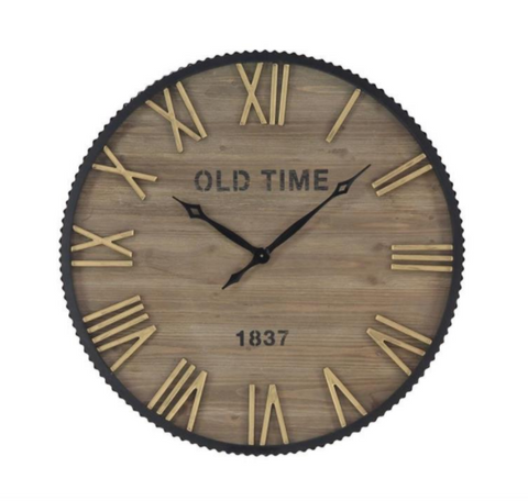 Metal Wall Clock with Wood Face