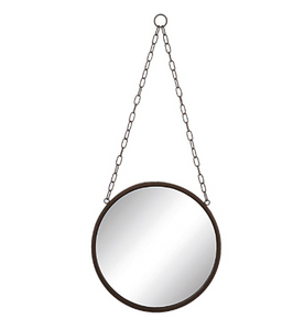 Round Metal Framed Mirror with Chain - Rust Finish