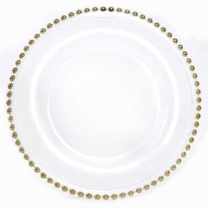 Gold Charger Plates Glass Beaded Charger Plate Hire Brisbane | LANE 88