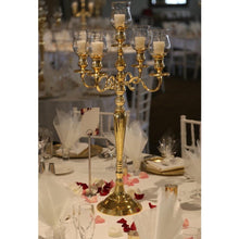 Load image into Gallery viewer, Gold 5 arm candelabra Hire Brisbane | Dianna-Lynn Decor