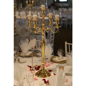 Gold 5 arm candelabra Hire Brisbane | Dianna-Lynn Decor