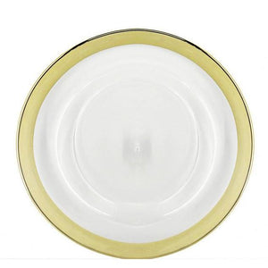 Gold Metallic Rim Glass Charger Plate Hire | LANE 88