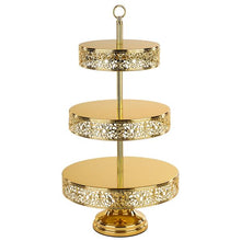 Load image into Gallery viewer, Gold Plated 3-Tier Cupcake Stand Hire | Dianna-Lynn Decor