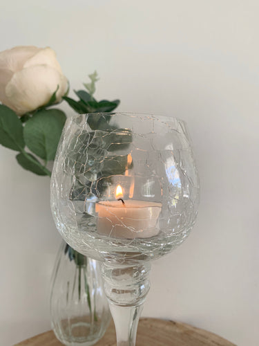 5 Piece Crackle Glass Candle Holder - Hire | LANE 88