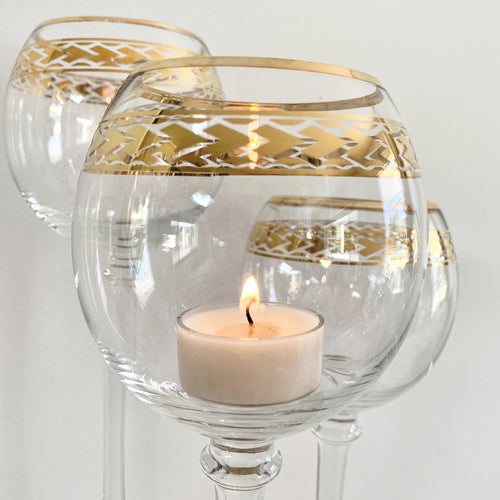 3 piece Glass Stem Candle Holder (Plain or Gold Trim) Hire | LANE 88