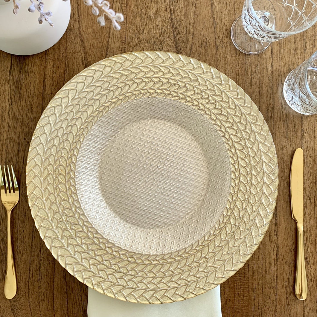 Gold and Ivory Glass Braided Charger Plate Hire | LANE 88