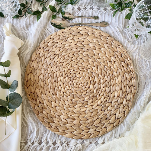 Round Weave Placemat Hire Brisbane | LANE 88