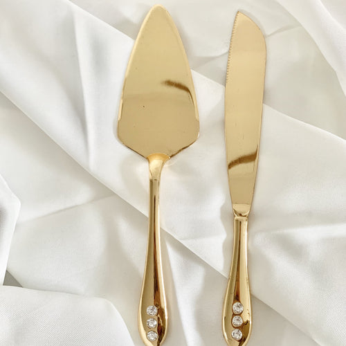 Gold and Crystal Cake Knife and Server Set Hire | LANE 88