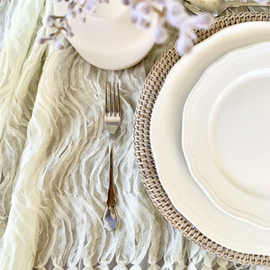 Rattan Charger Plate Hire - White Wash | LANE 88