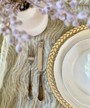 Load image into Gallery viewer, Gold and Ivory Glass Braided Charger Plate Hire