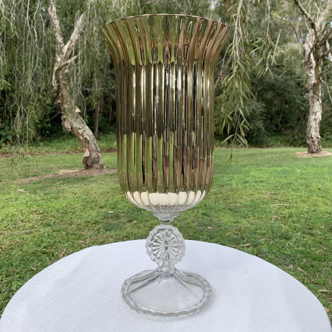 Glass Gold Trumpet Vase 40cmH Hire