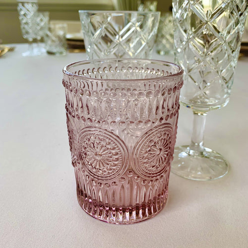Pink Glass Tumbler Hire | LANE 88