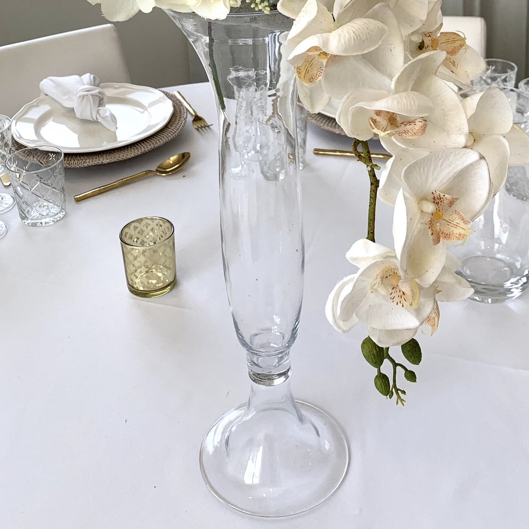 Clear Footed Trumpet Vase Hire - 59cmH