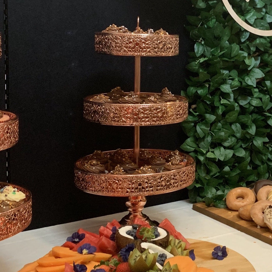 Rose Gold  3-Tier Cupcake Stand - Hire