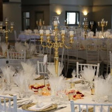 Load image into Gallery viewer, Gold 5 Arm Candelabra- Hire