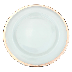 Metallic Rim Glass Charger Plate - Gold, Silver, Rose Gold