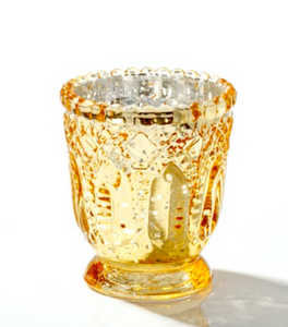Glass Votive Candle Holder Heirloom Gold - Hire | LANE 88