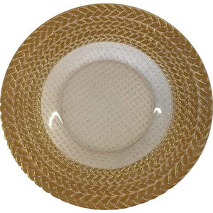 Gold And Ivory Glass Braided Charger Plates Hire | Dianna-Lynn Decor